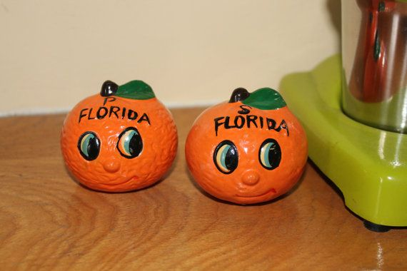 Florida Orange Souvenir Salt and Pepper by MabelStMiscellany, $10.00