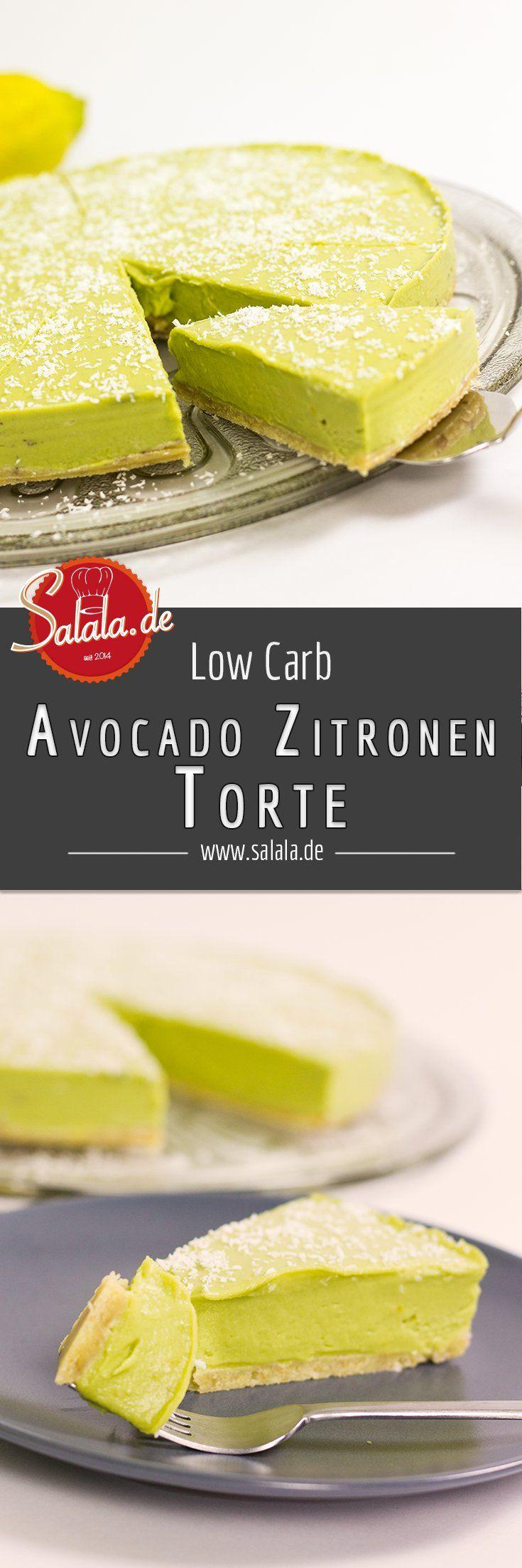 Avocado Zitronen Torte Kühlschrankkuchen Low Carb glutenfrei backen - salala.de Leckere und cremige Avocado-Zitronen-Torte - absolut zuckerfrei, mehlfrei und glutenfrei! Knallgrün und superlecker, nur 3g Kohlenhydrate pro Stück. So eine Low Carb Torte hast du noch nie gegessen!