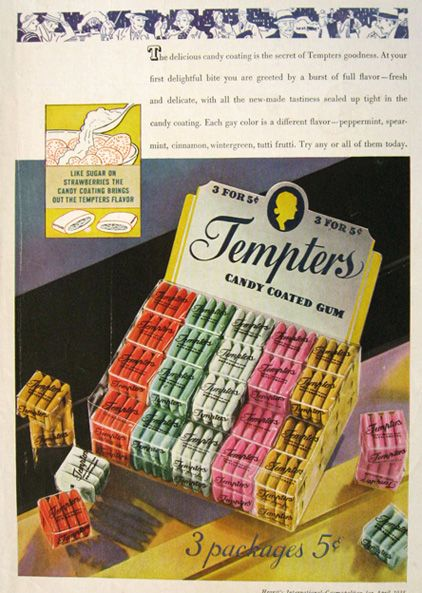 1935 Tempters Candy Coated Gum Ad: Daddy S 80Th, Vintage Ads Posters, 80Th Birthday, 1930S Food, 1935 Tempters, Candy Advertisements, Candy Ads, Birthday Party