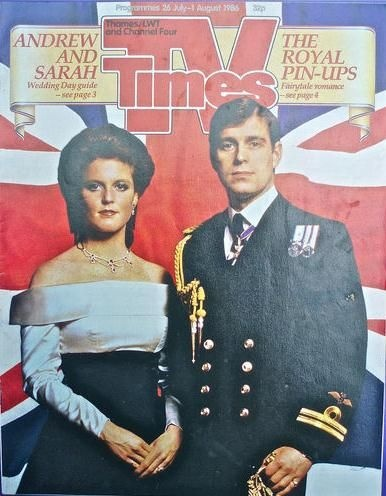 Prince Andrew, Sarah Ferguson - TV Times Magazine Cover [United Kingdom] (26 July 1986)