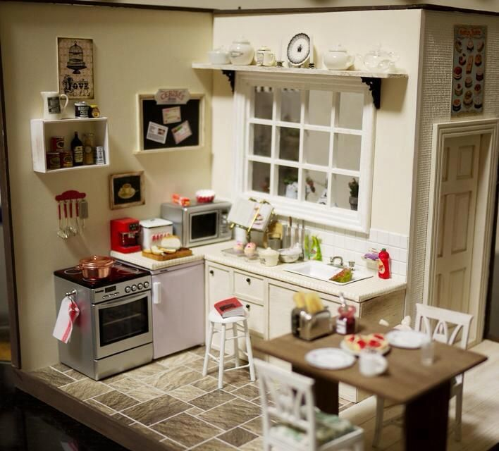 Miniature Kitchen Room Box Bykozuemiura Posted