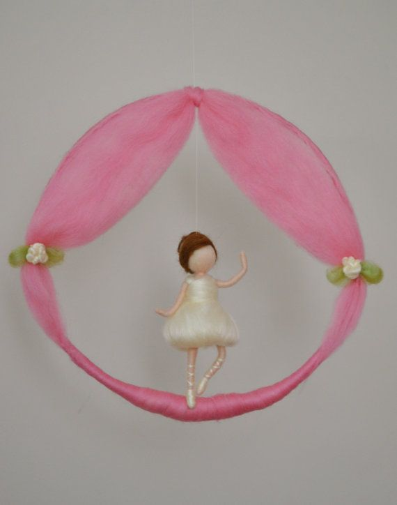 Girls Mobile  needle felted room decoration : Ballerina