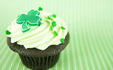 Chocolate cupcakes. Decorate with emerald sprinkles and green icing. A dash of our Peppermint Extract in the icing is divine!