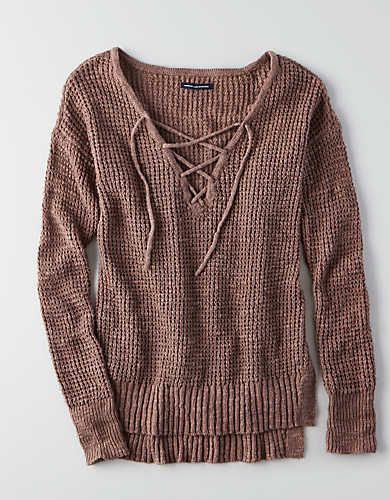 American Eagle Outfitte Womens Cotton Blend Long Sleeve V-neck Red Jumper Size S Sweaters