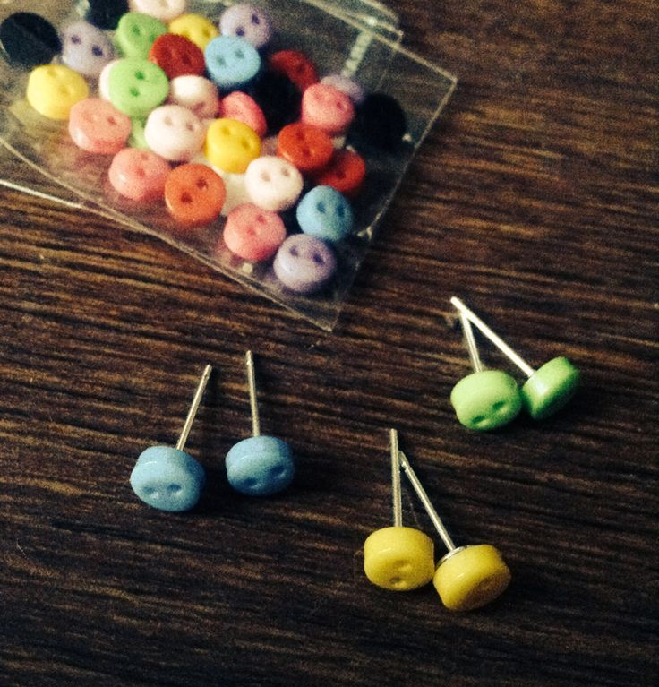 Tiny button stud earrings