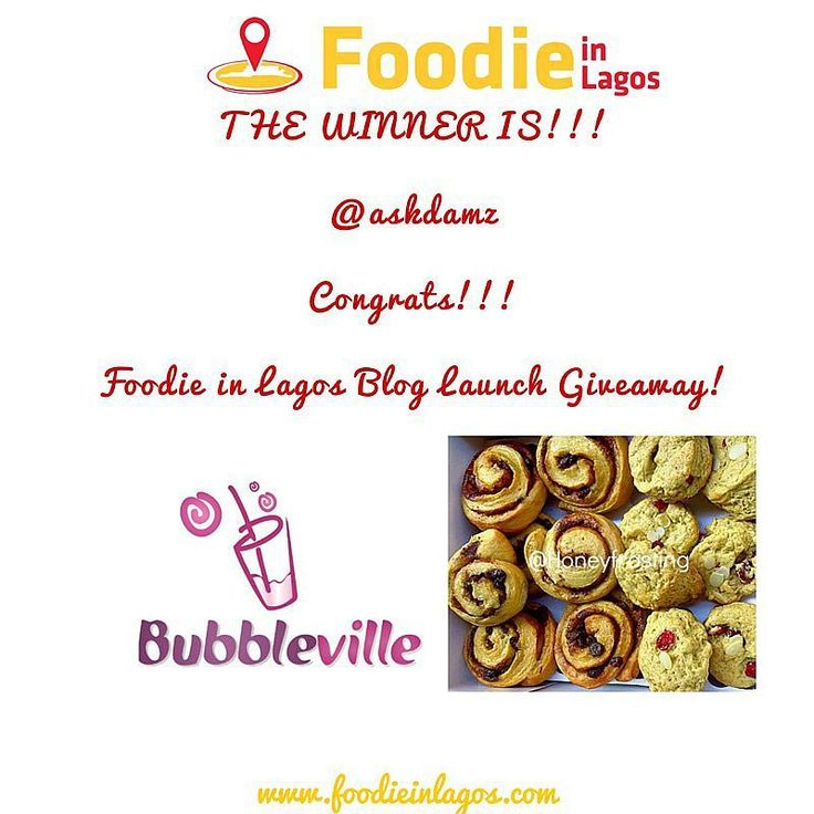 End of Day 3 #FILGiveaway!  Using a random picker tool today's winner is @askdamz  Congratulations!!!! Please DM your full name email address and phone number to get your treats from @bubblevilleng and @honeyfrosting  Thank you @bubblevilleng and @honeyfrosting for being a part of the Foodie in Lagos Blog Launch Giveaway  Thanks everyone for participating!! More Giveaways coming!  Be sure to check out http://ift.tt/1EHNs2c and register to get notified when the blog goes live!  #FILGiveaway…
