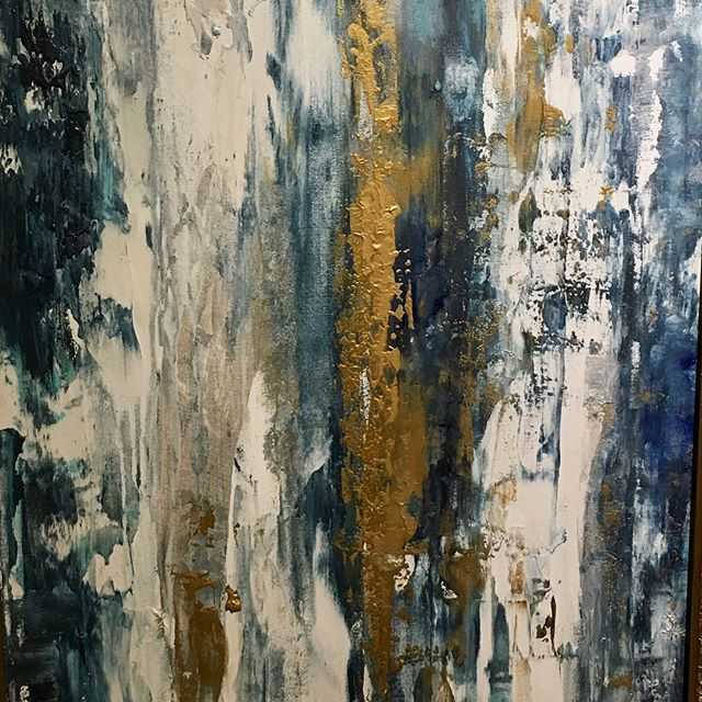 "NEW! Look what I just finished....love these blues and whites with metallic gold and a little silver accents! Can't you see it looking really cool horizontal as an abstract landscape too? AVAILABLE!-24""x36"" Only $550 👉FREE Shipping in US!!!. . . . . #josephraymondfineart#abstractart#contemporaryart#modernart#texarkana#littlerock#hotsprings#shreveport#dallas#dfw#fortworth#frisco#bluewhiteandgold…"