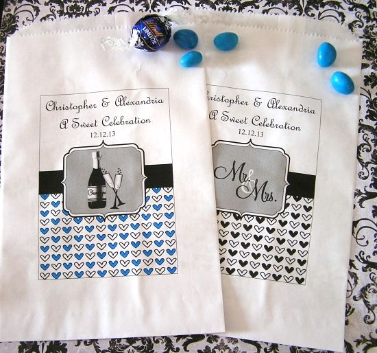 Personalized Paper Favor Goodie Bags - Wedding Icons