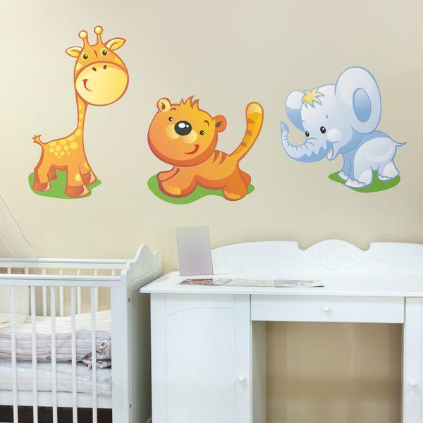Adesivi per bambini: animali giraffa, tigre e elefante. Adesivi murali bambini a kit. #adesivimurali #decorazione #modelli #mosaico #animali #savana #StickersMurali