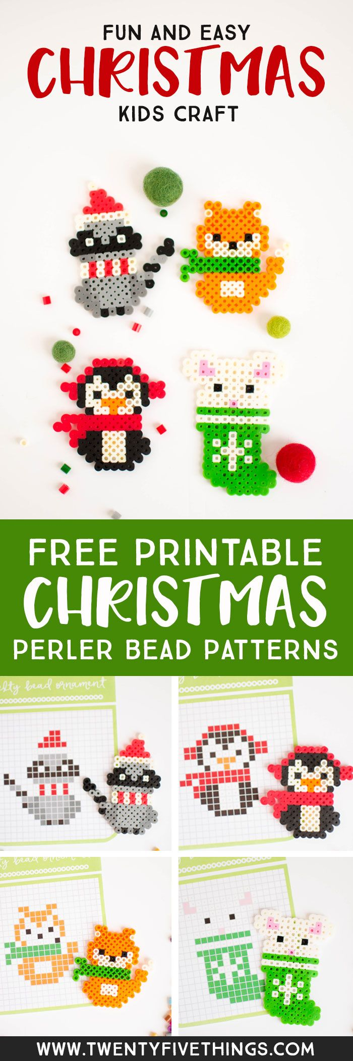 Download the free printable Christmas perler bead patterns for fun kids' Christmas crafts. We love using melty beads to make Christmas ornaments.
