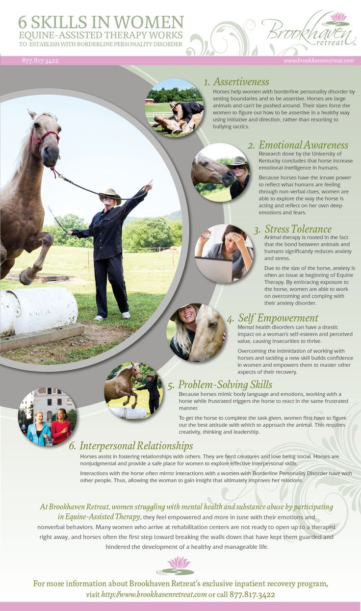 6 Skills Equine Assisted Therapy Works to Establish in Women with Borderline Personality Disorder - http://www.womensinpatientrehab.com/38/