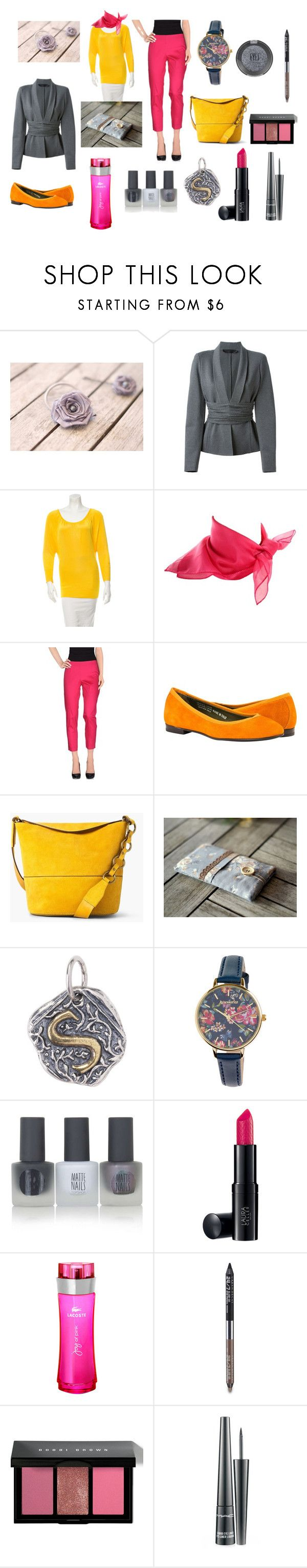 """""""Gray, Yellow and Fuchsia Collection,"""" by nataly-germany on Polyvore featuring Donna Karan, Alice + Olivia, MANGO, Accessorize, Topshop, Laura Geller, Lacoste, Urban Decay, Bobbi Brown Cosmetics and MAC Cosmetics"""