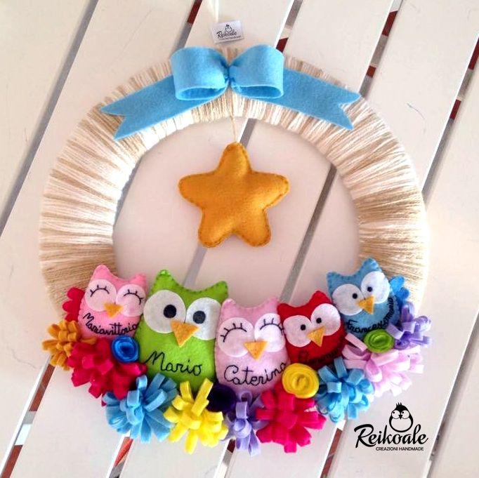 #fattoamano #handmade #creazioni #nome #pannolenci #fuoriporta #nomi #gufetti #coroncina