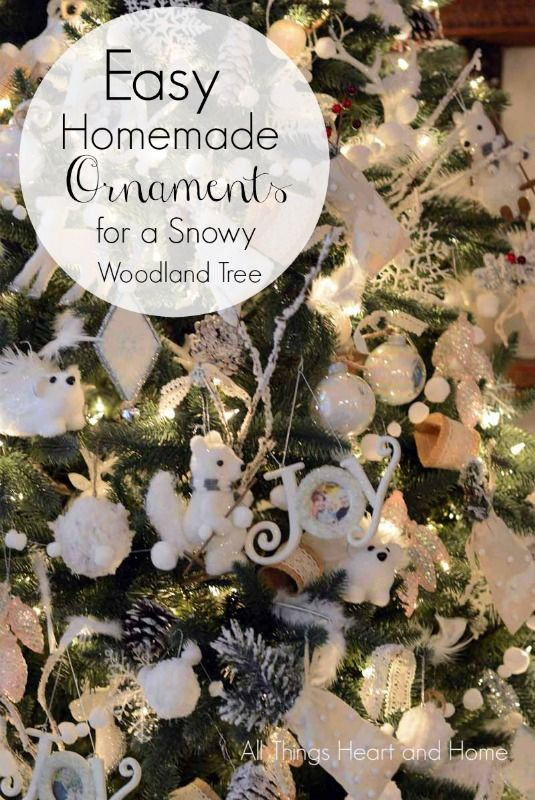 Easy-Homemade-Ornaments For a Snowy Woodland Tree!