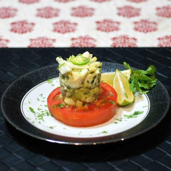 Delicious and healthy, this Tomato Steak, topped with Avocado Crab Salad is gorgeous.  And tasty.