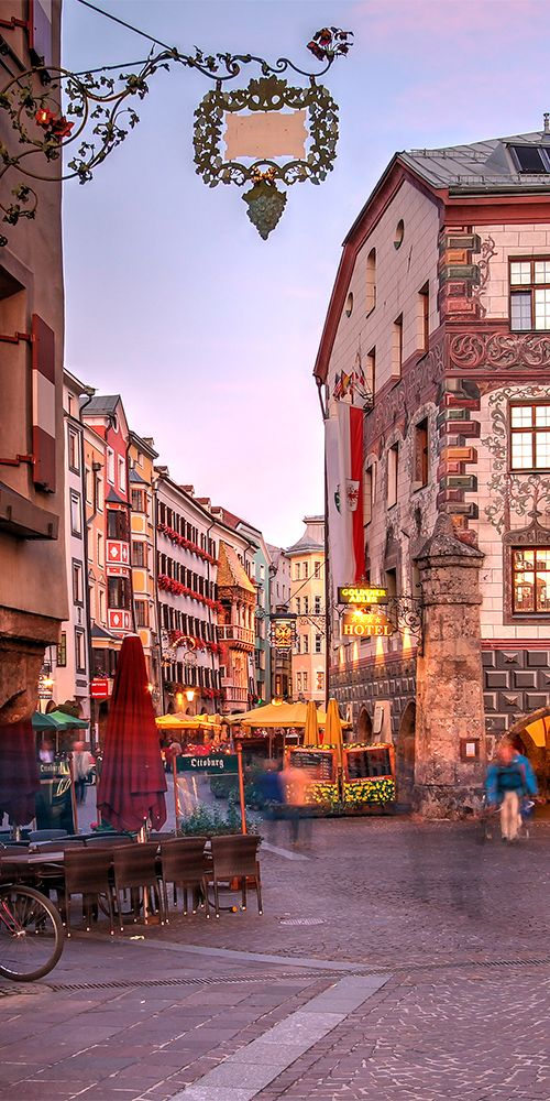 Downtown Innsbruck - Tyrol, Austria cute place It's a little more built up than the quaint towns but that's why it's a city-- check summer 2015