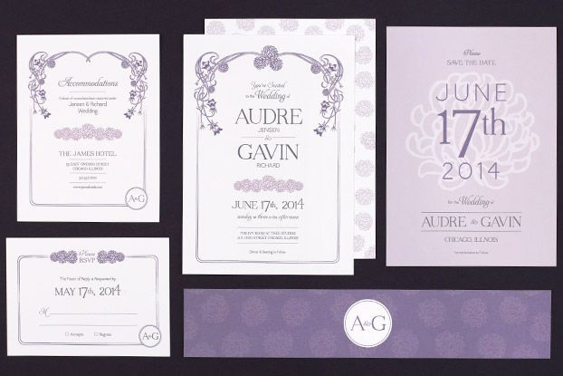 Floral Nouveau Wedding Stationery Suite from Love vs Design