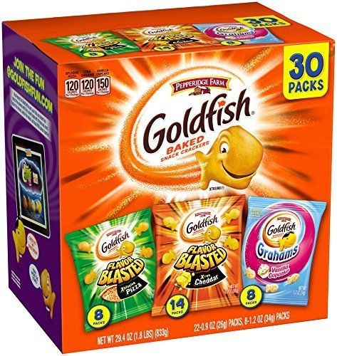 30-Count Pepperidge Farm Goldfish Crackers Classic Mix or Bold Variety Pack $6.49 or less w/ S&S  free s/h @ Am... #LavaHot http://www.lavahotdeals.com/us/cheap/30-count-pepperidge-farm-goldfish-crackers-classic-mix/184864?utm_source=pinterest&utm_medium=rss&utm_campaign=at_lavahotdealsus