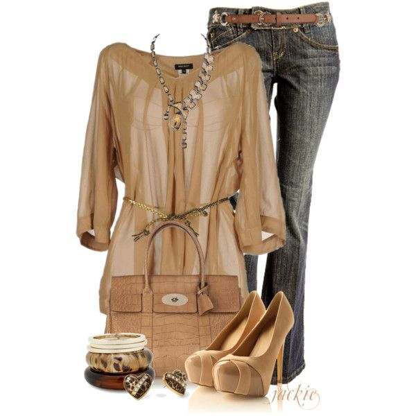 Nude Heels and Jeans - Polyvore