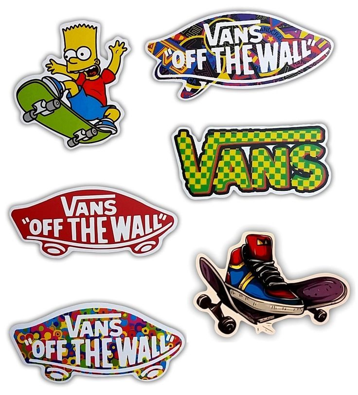 Vans off the wall skateboard stickers set of 6 stickers
