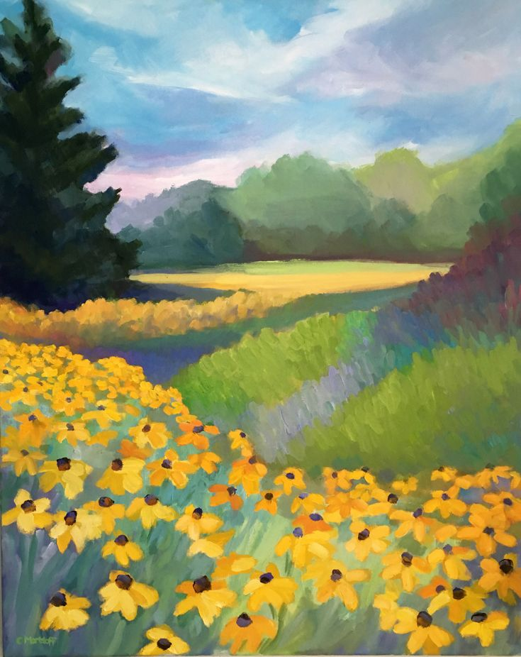Excited to share the latest addition to my #etsy shop: Yellow Coneflowers Large Landscape Oil Painting on Canvas