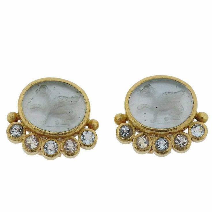 Elizabeth Locke Venetian Glass Intaglio Aquamarine Gold Earrings