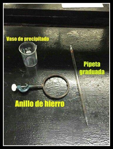Vaso de precipitado- Material para experimentación Pipeta graduada- Material de filtración Anillo de hierro- Material metálico