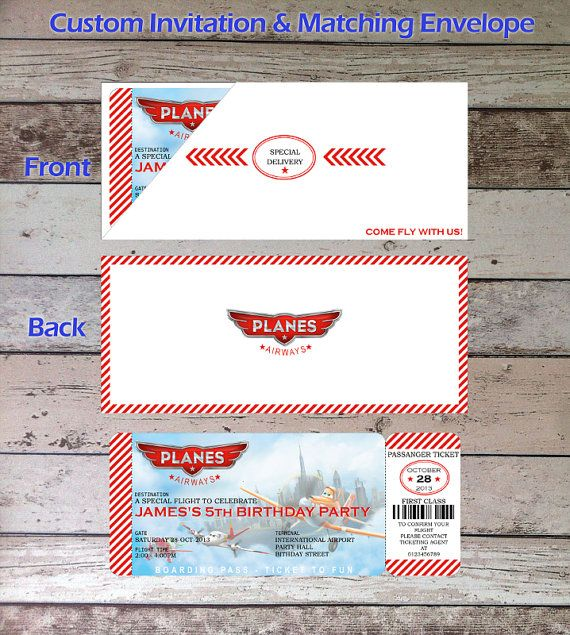 Disney Planes Personalized Digital Birthday Party Boarding Pass Invitation and Matching Envelope, Digital File, PDF, JPG for Disney Planes