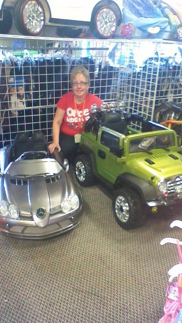 Kids ride in vehicles.  Assorted colors and models.  Parent remote control and mp3 player