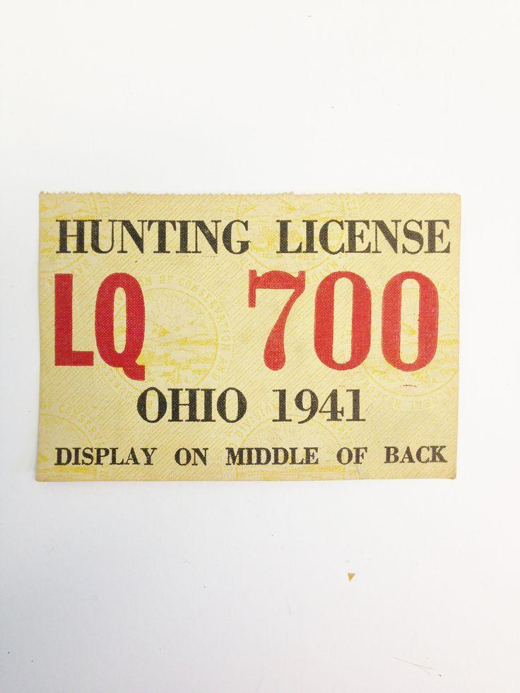 Vintage 1941 Ohio Canvas Hunting License