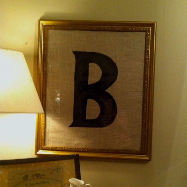 64 best frames letter crafts modge podge images on pinterest large picture frame from goodwill cover the print in it with burlap cut a stencil out and painted the letter on it spiritdancerdesigns Images