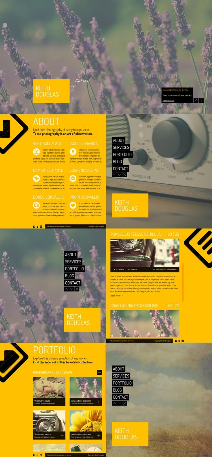 web-design website site nostalgia minimal yellow photographic portfolio template | source: http://themeforest.net/item/nostalgia-minimal-portfolio-template/1995288?ref=quanticalabs