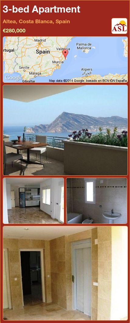 3-bed Apartment in Altea, Costa Blanca, Spain ►€280,000 #PropertyForSaleInSpain
