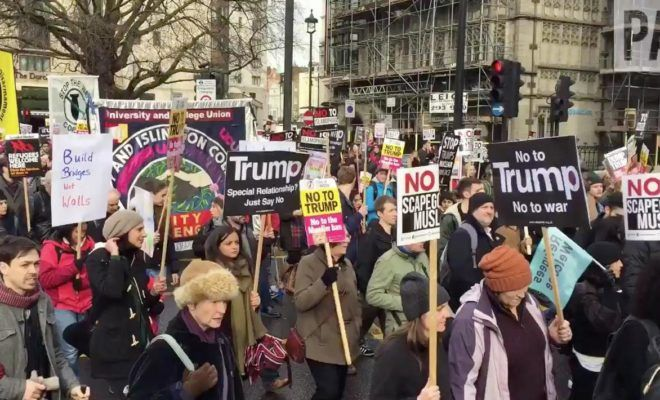 Tens Of Thousands Of Anti Trump Marchers Gather In London Trump