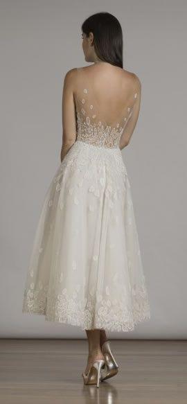 Style 6846 - Liancarlo tea length wedding dress (back view)
