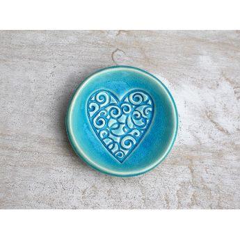 Mudbird Aqua Crackle Heart Dish $25