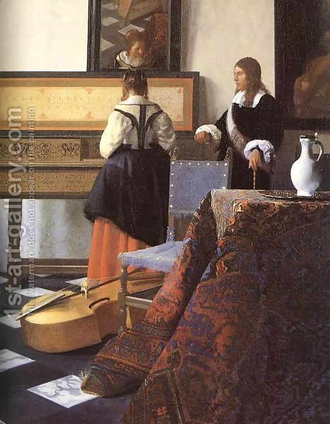 A Lady at the Virginals with a Gentleman (detail-1) 1662-65 by Jan Vermeer Van Delft