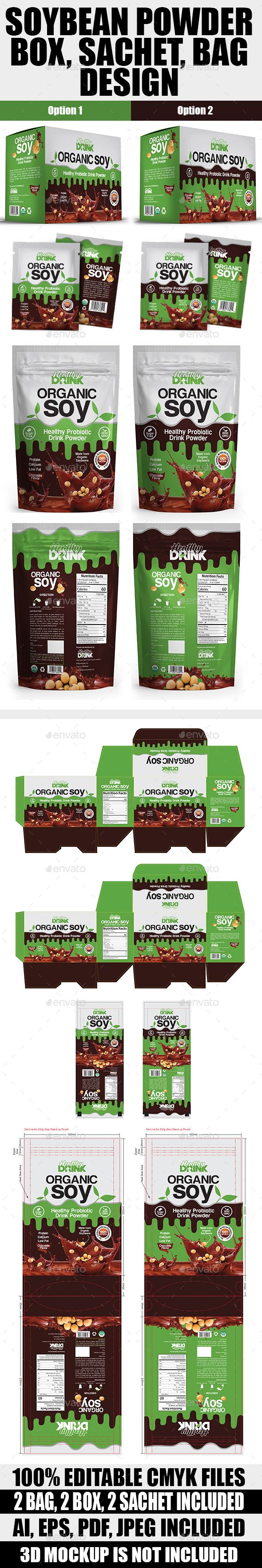 Soybean Drink Powder Bag, Box & Sachet