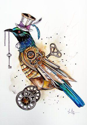 Steampunk Tui Bird art by www.fiona-clarke.com