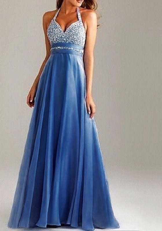 ee19b25df9d Robe maxi longue avec paillette drapé dos nu v-cou élégant de soirée bleu