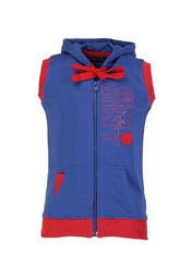 this blue coloured jacket from Gini & Jony. This stylish jacket features a zip closure on the front and a hood that together add to its appeal. Made from 100% cotton, this regular-fit jacket will keep your little champ cosy.