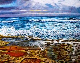 Rythm & Blues represents the force of nature and its ever changing mood. The under painting is in acrylic and over painted in oil to give a strong, translucent colour. This painting was inspired by the local waters of South Australia.