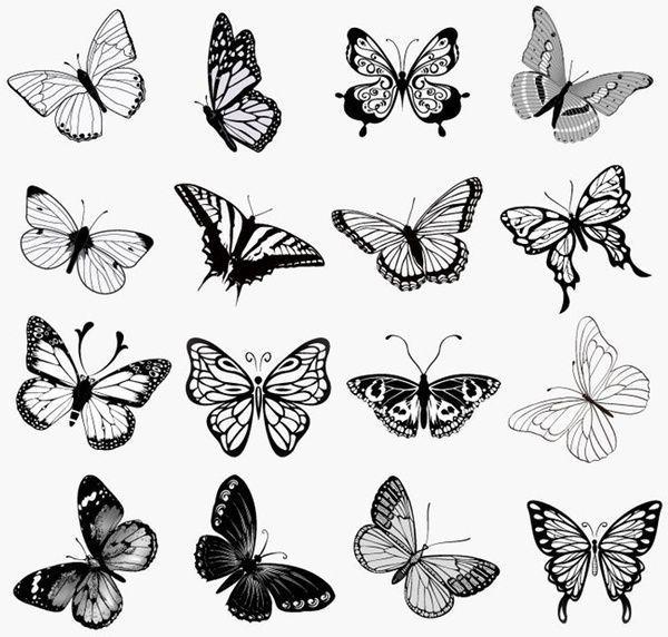 set schmetterlinge silhouetten vektor illustration beautytatoos kleiner schmetterling tattoo tattoos frosch photoshop