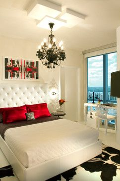 Love the headboard, chandelier and colors!