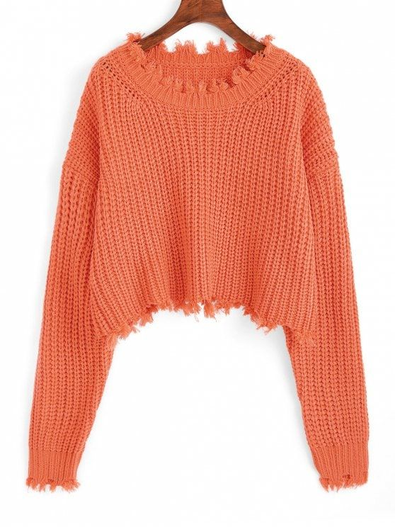 Shop for Frayed Chunky Crop Sweater ORANGE  Sweaters ONE SIZE at ZAFUL.  Only  26.99 and free shipping! 3880b2efc