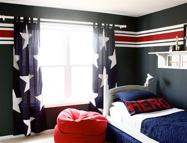 No sew DIY Star drapes. Perfect for a military family. You take ordinary blue curtains, pre-made and attach the stars. Goes great with the theme of the room LOVE the pillow, his dad is probably in the military. :o)