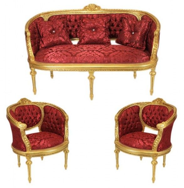 Casa Padrino Barock Wohnzimmer Set Marseille Bordeaux Muster / Gold   Sofa  + 2 Sessel