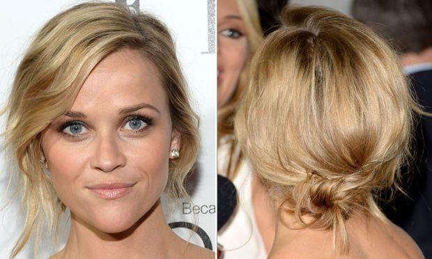 Reese Witherspoon . Quem disse que os fios médios não permitem coques? O penteado baixo e com fios levemente bagunçados é perfeito para variar o visual.
