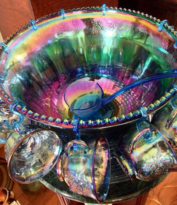 Vintage Indiana blue purple iridescent carnival glass grape harvest sawtooth punch bowl 12 cup under plate ladle set best offer free ship