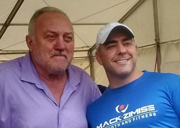 World's Strongest Man Bill Kazmaier is pictured with Randall Crooks of  Mackzimise